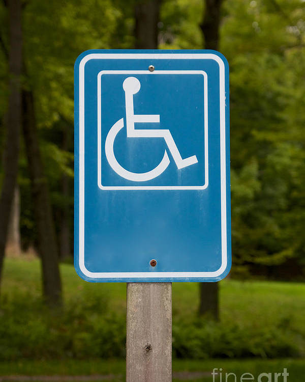 Access Poster featuring the pastel Disabled Parking Sign by Jannis Werner