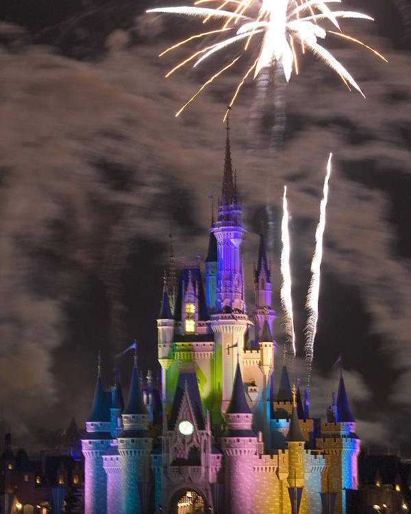 Fireworks Poster featuring the photograph Disney Castle by Carl Purcell