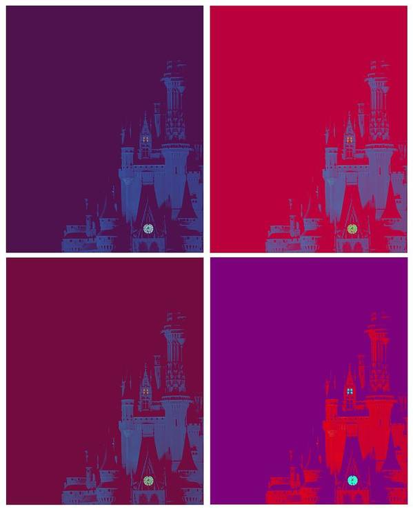 Disney Poster featuring the photograph Disney Castle In Purples by Jenny Hudson
