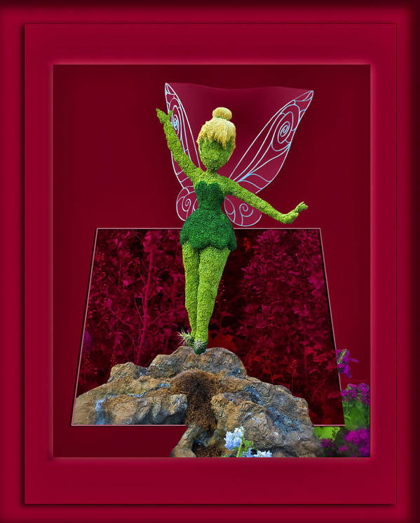 Tinker Bell Poster featuring the digital art Disney Floral Tinker Bell 02 by Thomas Woolworth