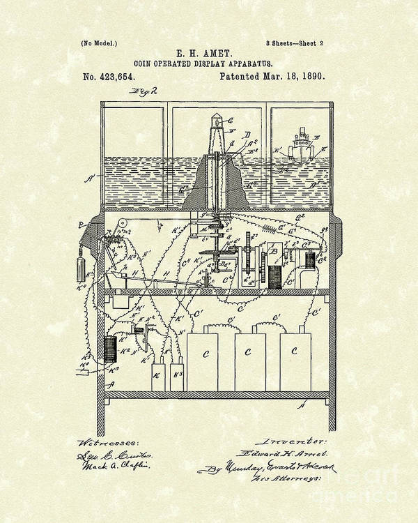 Amet Poster featuring the drawing Display Apparatus 1890 Patent Art by Prior Art Design