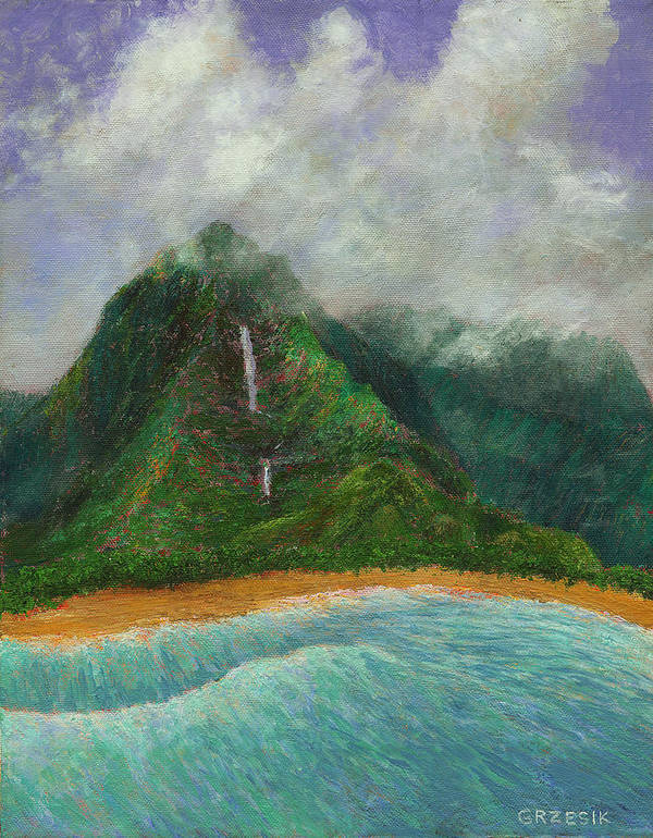 Coastal Decor Poster featuring the painting Distant Falls by Kenneth Grzesik
