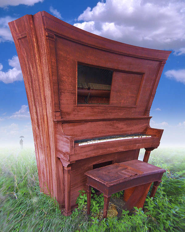 Distorted Upright Piano Poster featuring the photograph Distorted Upright Piano by Mike McGlothlen