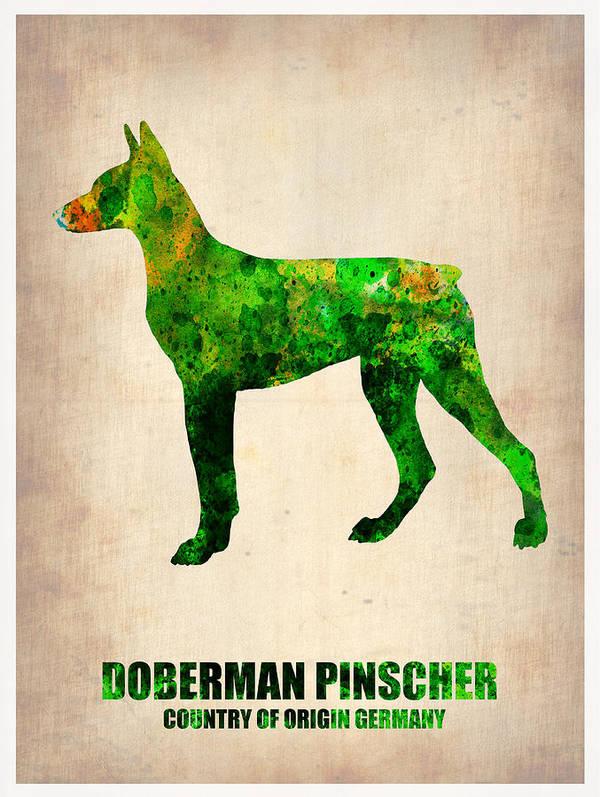 Doberman Pinscher Poster featuring the painting Doberman Pinscher Poster by Naxart Studio