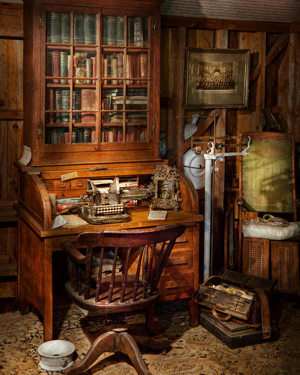 Doctor Poster featuring the photograph Doctor - My Tiny Little Office by Mike Savad