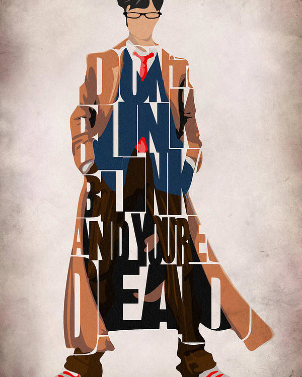 Doctor Who Poster featuring the painting Doctor Who Inspired Tenth Doctor's Typographic Artwork by Ayse Deniz
