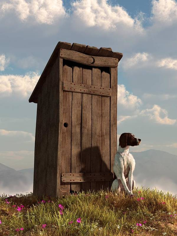Dog Poster featuring the digital art Dog Guarding An Outhouse by Daniel Eskridge