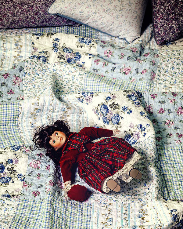 Old Poster featuring the photograph Doll On Bed by Joana Kruse
