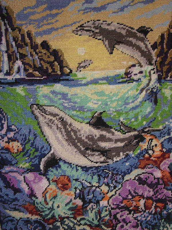 Dolphins Game Poster featuring the tapestry - textile Dolphins Game by Eugen Mihalascu
