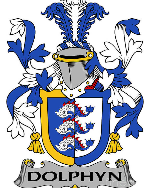 Dolphyn Poster featuring the digital art Dolphyn Coat Of Arms Irish by Heraldry