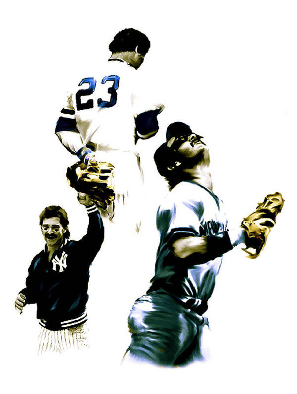 Poster featuring the painting Donnie Baseball Don Mattingly by Iconic Images Art Gallery David Pucciarelli