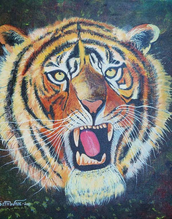 Fierce Tiger On Dark Background Poster featuring the painting Don't Tread On Me by Seth Wade