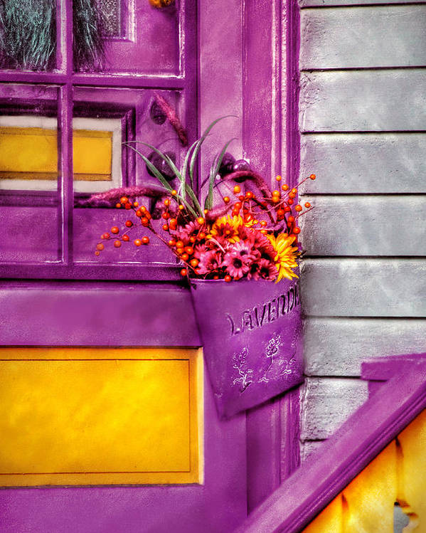 Savad Poster featuring the photograph Door - Lavender by Mike Savad