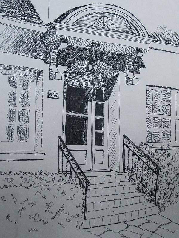 Pen And Ink Poster featuring the drawing Doorway by Mary Ellen Mueller Legault