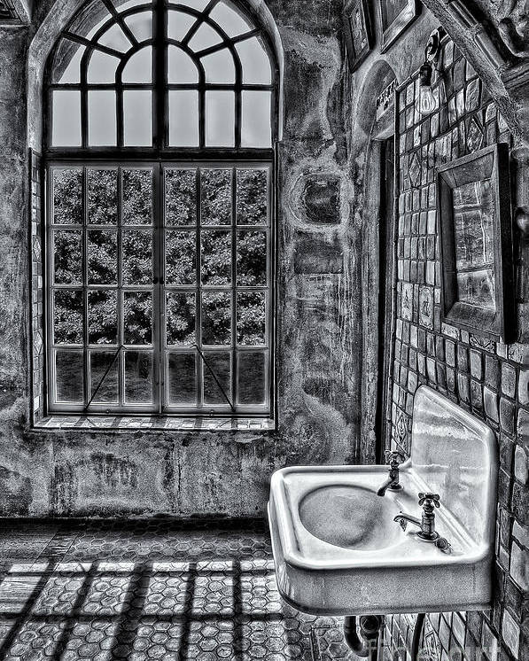 Byzantine Poster featuring the photograph Dormer Bathroom Side View Bw by Susan Candelario