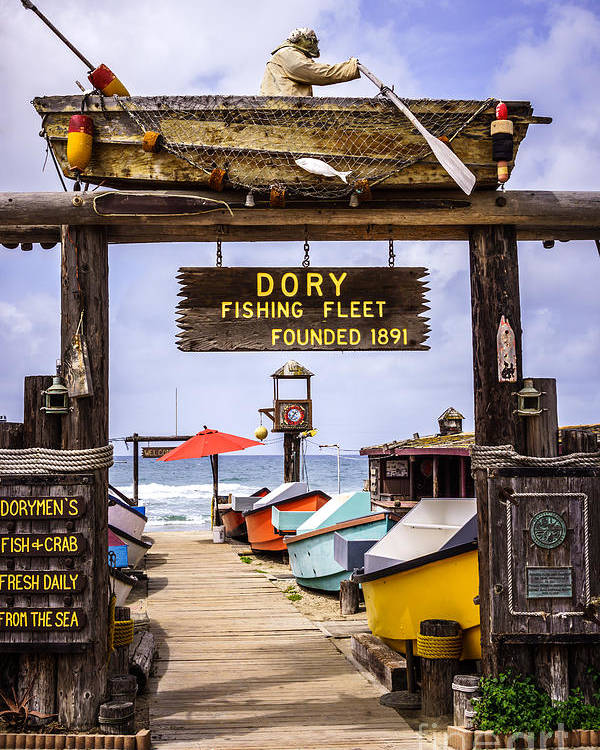 America Poster featuring the photograph Dory Fishing Fleet Market Newport Beach California by Paul Velgos