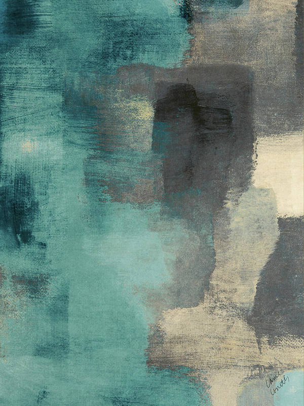 Abstract Poster featuring the digital art Downtown Blue Rain I by Lanie Loreth