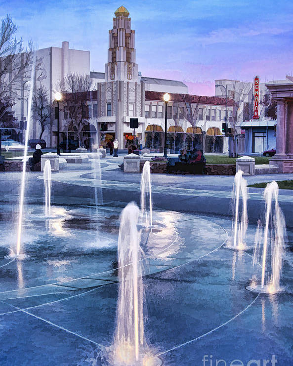 Senator Poster featuring the photograph Downtown City Plaza Chico California by Kathleen Gauthier