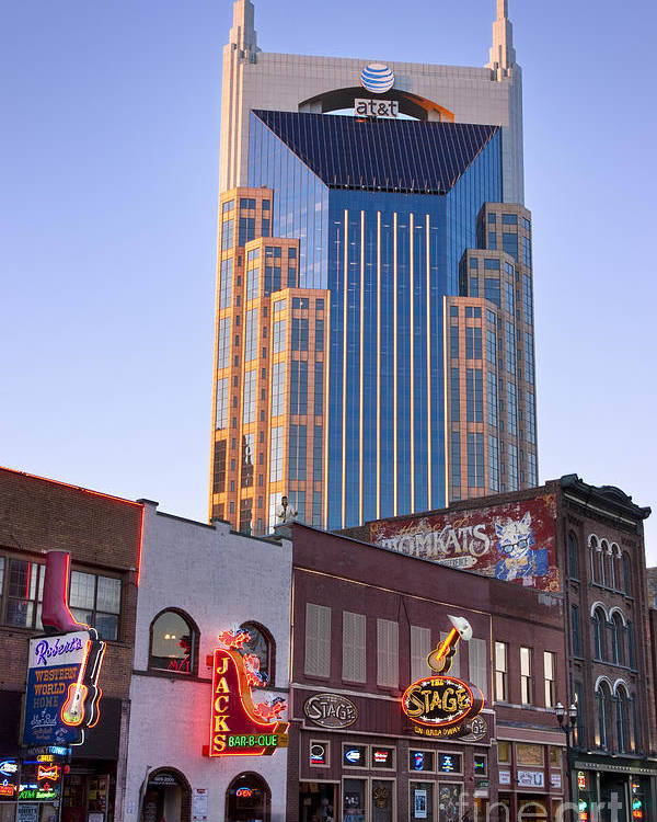At&t Poster featuring the photograph Downtown Nashville by Brian Jannsen