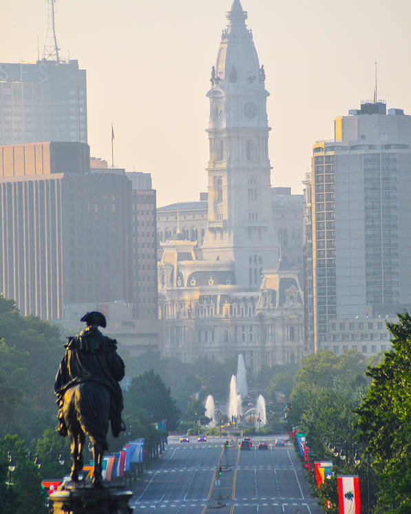 Downtown Poster featuring the photograph Downtown Philadelphia - Benjamin Franklin Parkway by Bill Cannon