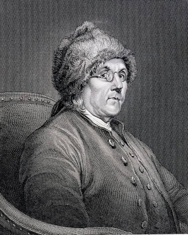 Dr Poster featuring the drawing Dr Benjamin Franklin by English School
