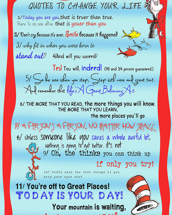 Dr Seuss - Quotes To Change Your Life Poster