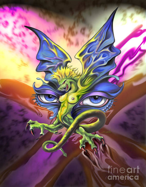 Spano Poster featuring the painting Dragons Eyes By Spano by Michael Spano