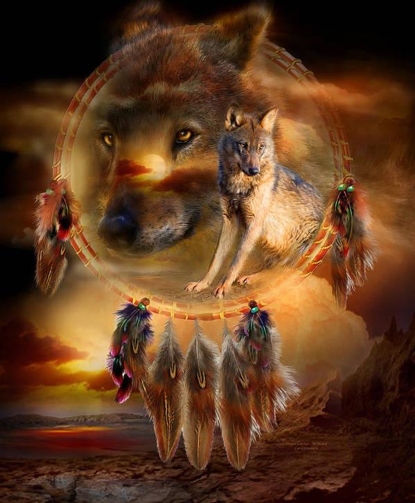 Carol Cavalaris Poster featuring the mixed media Dream Catcher - Wolfland by Carol Cavalaris