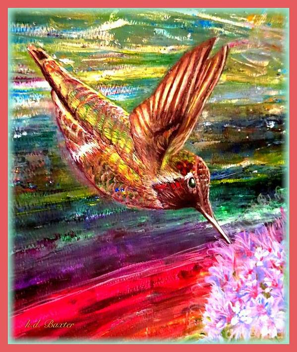 Hummingbird Flying Pink Purple Tubular Shaped Flower Amid A Rainbow Of Colors Vibrant Red Orange Purple Turquoise Blue Gold Green Reminiscent Of Color Design In A Colorful Mexican Blanket Or Sombrero Nature Scene Hummingbird Paintings With Flowers Acrylic Painting Poster featuring the painting Dream Of A Hummingbird by Kimberlee Baxter
