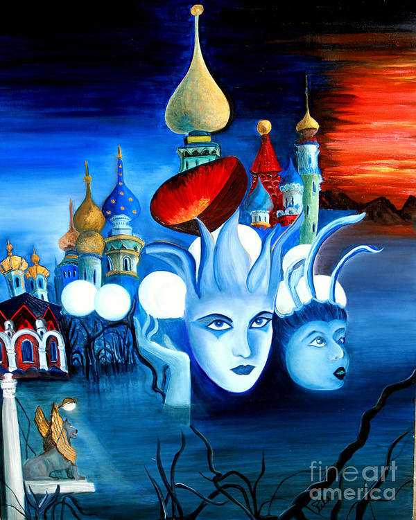 Surrealism Poster featuring the painting Dreams by Pilar Martinez-Byrne
