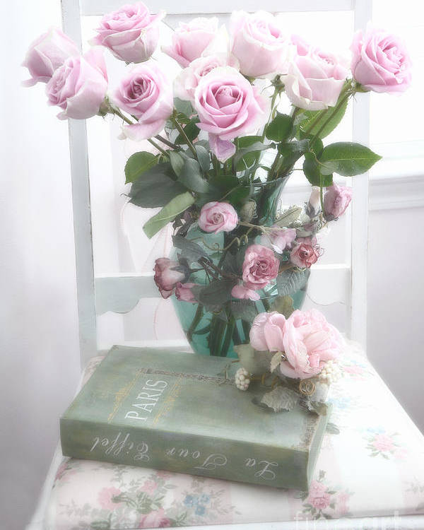 Dreamy Shabby Chic Cottage Pink Teal Romantic Floral Bouquet Roses ...