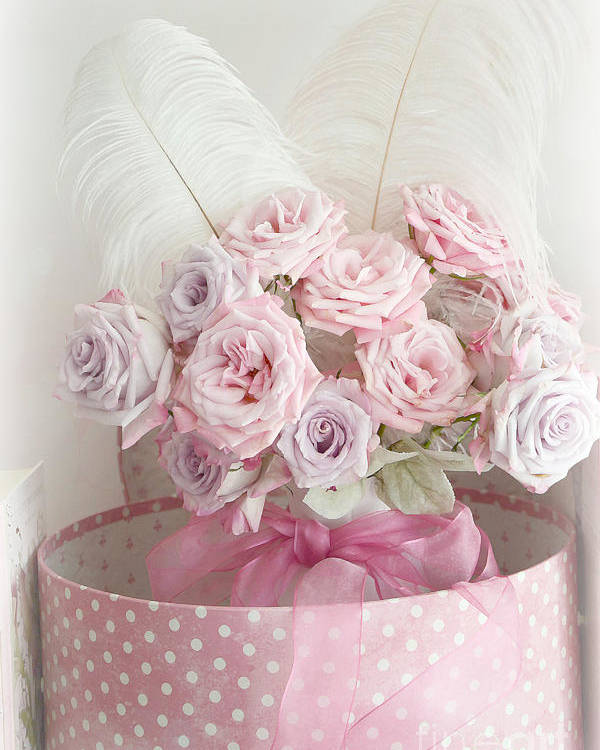 Dreamy Shabby Chic Roses In Pink Polka Dot Hat Box - Romantic Roses ...