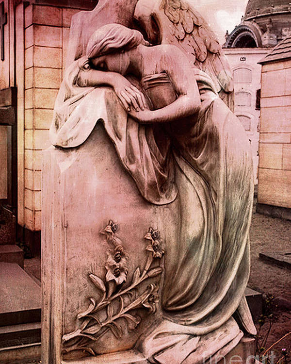 Angel Poster featuring the photograph Dreamy Surreal Beautiful Angel Art Photograph - Angel Mourning Weeping At Gravestone by Kathy Fornal