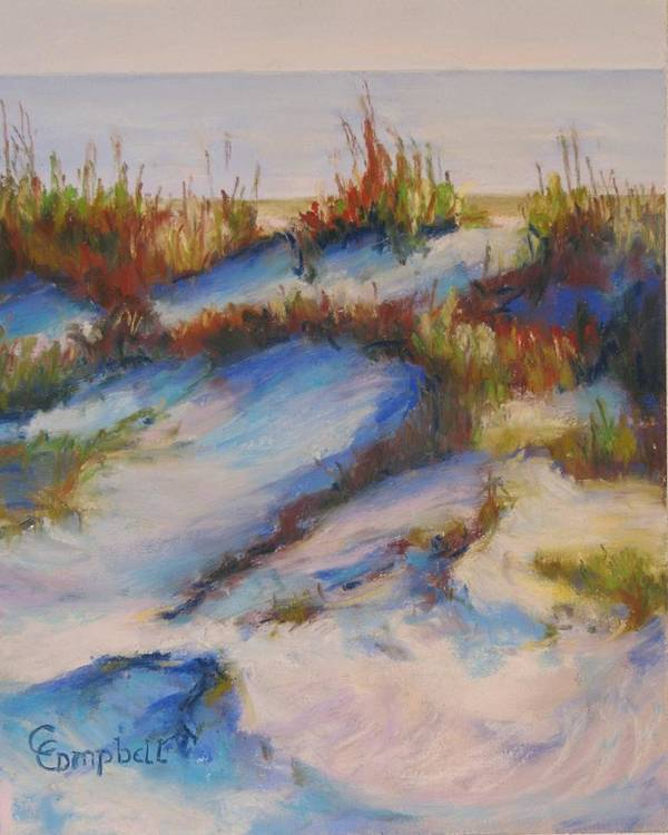 Beach Dunes Poster featuring the painting Drifting Dunes by Cecelia Campbell