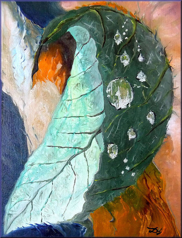 Drops On A Leaf Poster featuring the painting Drops On A Leaf by Daniel Janda