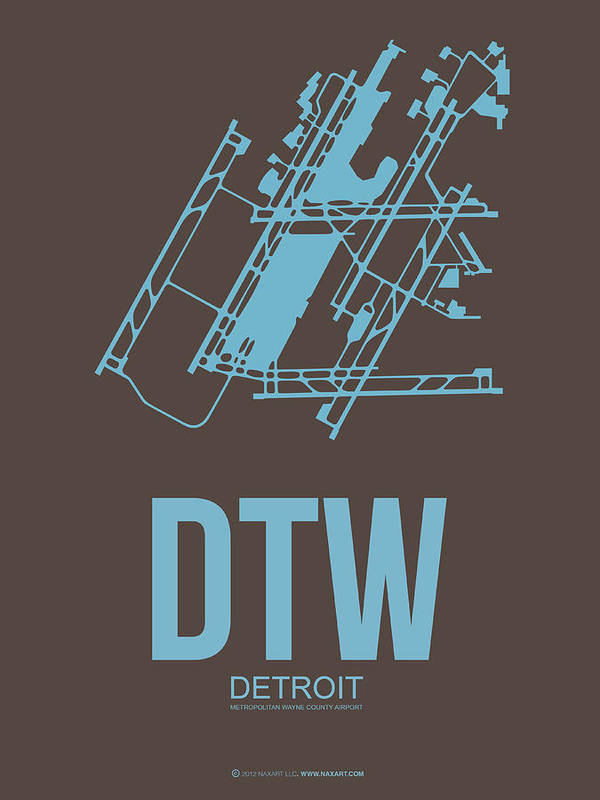 Detroit Poster featuring the digital art Dtw Detroit Airport Poster 1 by Naxart Studio
