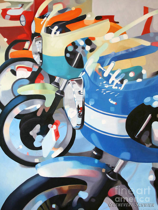 Motorcycles Poster featuring the painting Ducati Line by Guenevere Schwien