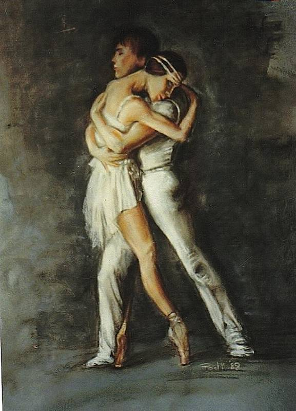 Painting Poster featuring the painting Duo Dance by Podi Lawrence