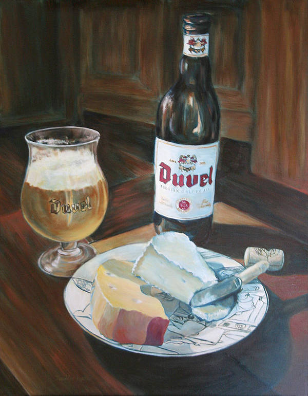 Cheese Poster featuring the painting Duvel And Cheese Plate by Jennifer Lycke