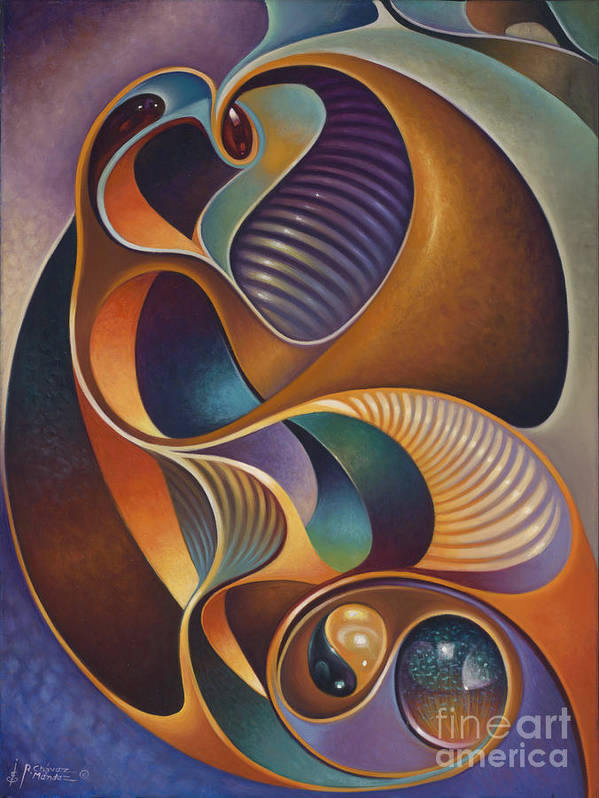 Ying-yang Poster featuring the painting Dynamic Series #23 by Ricardo Chavez-Mendez