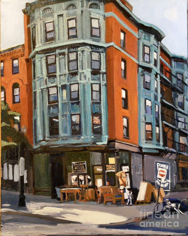 South Boston Poster featuring the painting E And W Broadway by Deb Putnam