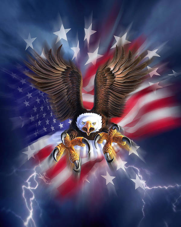 Eagle Poster featuring the digital art Eagle Burst by Jerry LoFaro