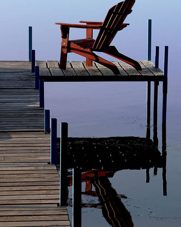 Red Chair Poster featuring the photograph Early Morning Peace by Kathleen Scanlan