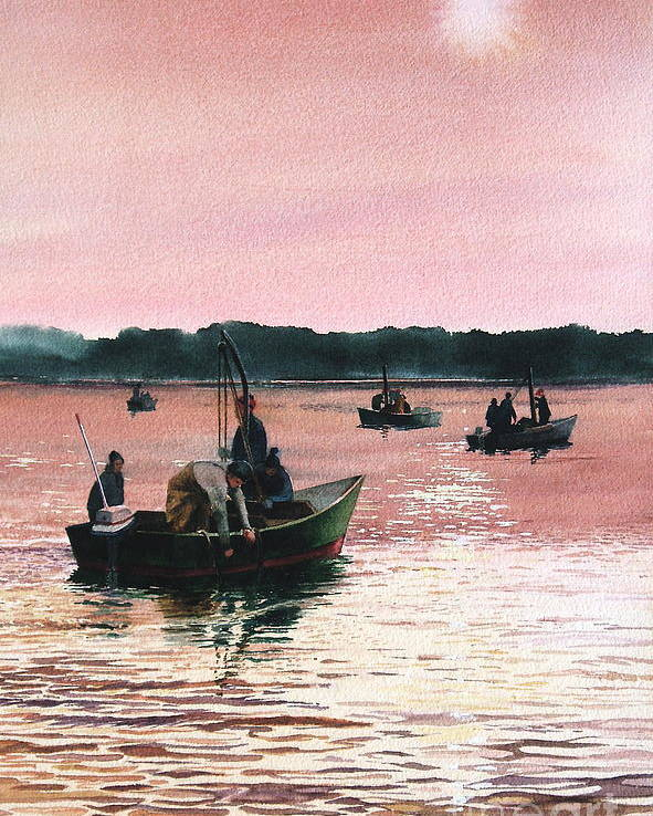 Sunrise Poster featuring the painting Early Morning Scallopers by Karol Wyckoff