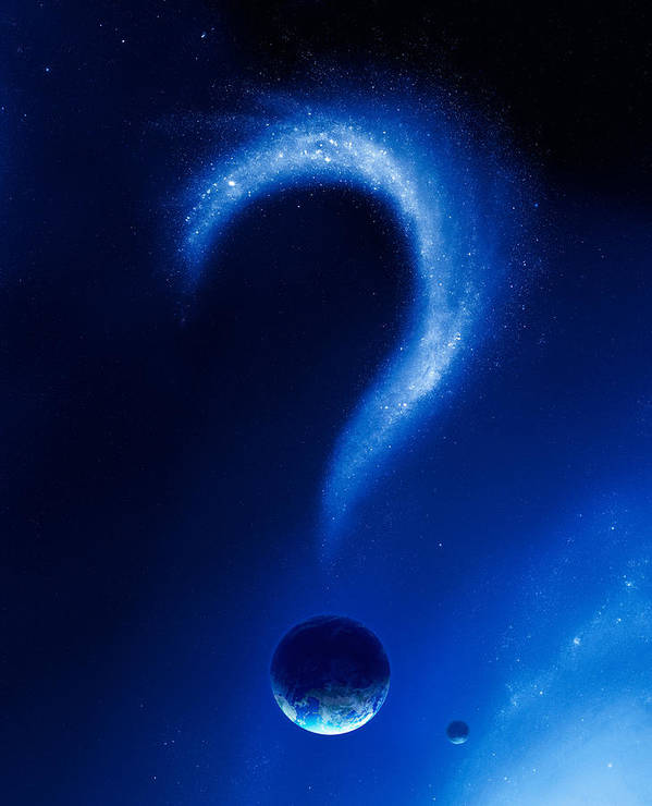 Earth Poster featuring the photograph Earth And Question Mark From Stars by Johan Swanepoel