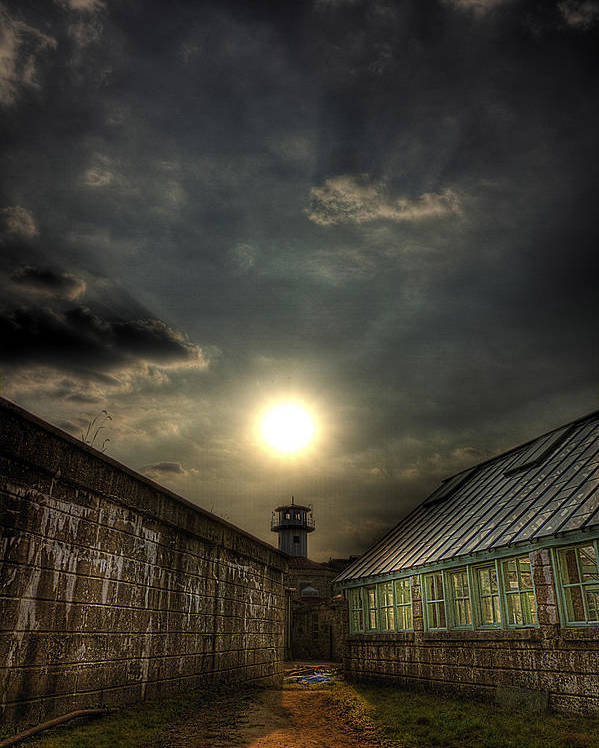 Eastern State Penitentiary Poster featuring the photograph Eastern State Penitentiary Sunset by Kim Zier