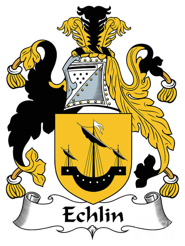 Echlin Poster featuring the digital art Echlin Coat Of Arms Irish by Heraldry