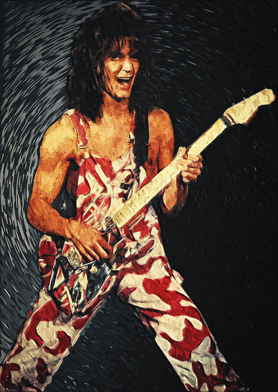 Eddie Van Halen Poster featuring the digital art Eddie Van Halen by Taylan Apukovska