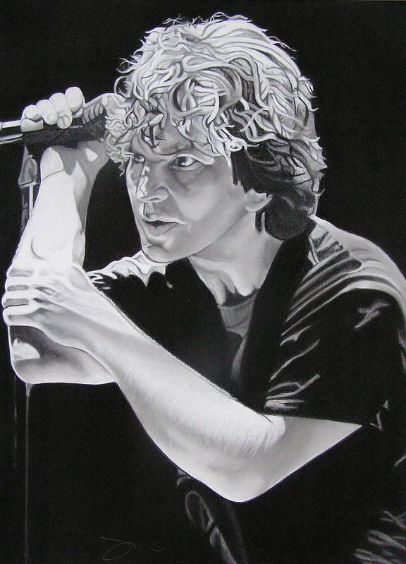 Eddie Vedder Poster featuring the drawing Eddie Vedder by Joshua Morton