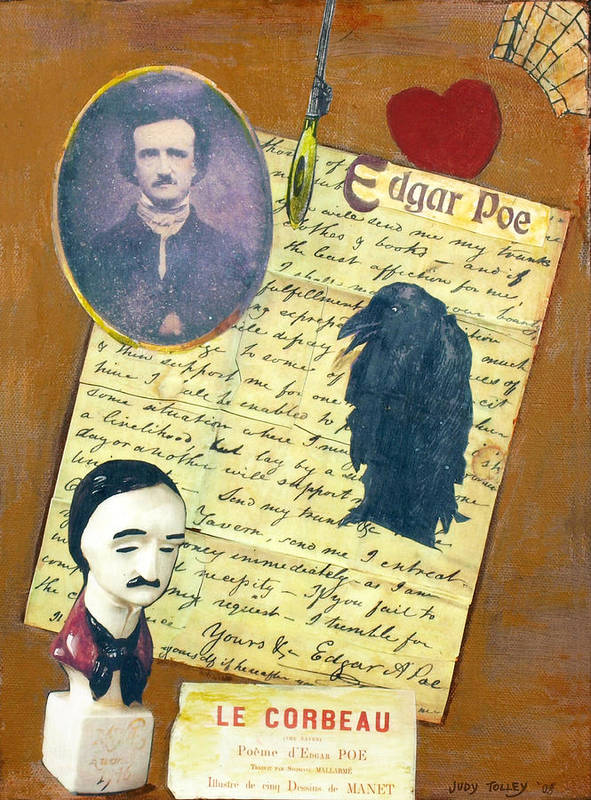 Poe Poster featuring the mixed media Edgar Allen Poe by Judy Tolley
